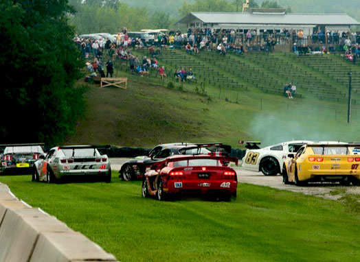 Road America – Trans Am Turn 6 Morning Race Pile up